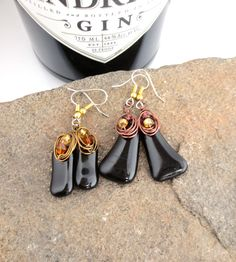 Eco Friendly Upcycled Hendrick's Gin Bottle Earrings Dark Brown Repurposed Recycled B by LttleEvrydyCreations on Etsy