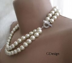 Wedding ivory pearl necklace chic  necklace2 by galladesign, $32.00