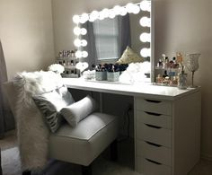 bedroom: Vanity In Bedroom White Vanity With Mirror And Lights White Vanity Chair Vintage Makeup Vanity. vanity set makeup bench makeup vanity table and mirror Vanity Set Ikea, White Vanity Chair, Ikea Makeup Vanity, Vanity Room, Makeup Vanities, Alex Drawer Vanity, Makeup Desk, Makeup Bord, Alex 5 Drawer