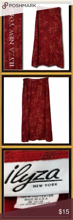 ILYZA NEW YORK - Floral Skirt - Size 12 CONDITION - EXCELLENT  Floral maxi skirt. Fully lined. Rear zip closure  MEASUREMENTS:  Waist - 30 HIps - 38 Length - 39 Swale - 38 Ilyza New York Skirts Maxi