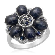 Liquidation Channel: Thai Blue Star Sapphire and Kanchanaburi Blue Sapphire Ring in Platinum Overlay Sterling Silver (Nickel Free)