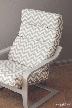 Nursery: Ikea poang chair recover (How Joyful) Ikea Nursery, Nursery Room, Ottoman Cover, Chair And Ottoman, Baby Bedroom, Girls Bedroom, Furniture Makeover, Diy Furniture, Ikea Poang Chair