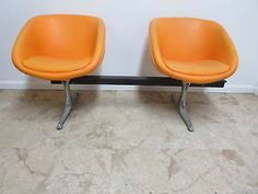 Vintage-Mid-Century-Chrome-Craft-Tub-Lounge-chairs-Adjustable-love-seat-couch
