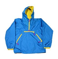 Vintage 1990s 90s Sierra Designs Hiking Blue/Yellow Anorak Jacket Mens Sz Small