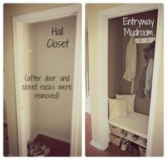 Amazing Small Coat Closet Ideas Easier Way To Maybe Temporarily Turn Front Close. Amazing Small Coat Closet Ideas Easier Way To Maybe Temporarily Turn Front Closet Into A Mudroom, Might Be Easier To hallway closet organization Small Coat Closet, Front Closet, Organize Coat Closet, Maximize Closet Space, Simple Closet, Hall Closet Organization, Organization Ideas, Small Entryway Organization, Small Mudroom Ideas