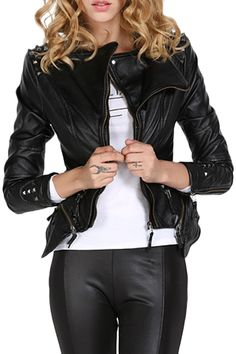 ROMWE | Asymmetric Rivet Black PU Jacket, The Latest Street Fashion