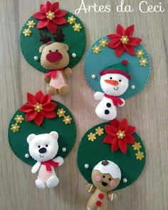 COMO HACER CORONAS NAVIDEÑAS CON CDS FACILES Y RAPIDAS! - IDEAS RAPIDAS Quilted Christmas Ornaments, Felt Christmas Decorations, Christmas Sewing, Christmas Crafts For Kids, Xmas Crafts, Felt Ornaments, Felt Crafts, Diy And Crafts, Christmas Stockings