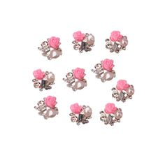 นี้ไง สินค้าที่คุณมองหา ลดราคาที่สุด Bluelans Nail Art Decor Tips Pink Rose Flower Alloy Rhinestone 10pcs ส่งฟรี  คุณภาพดี ราคาไม่แพง