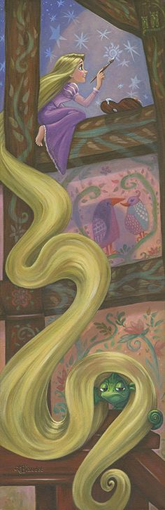 """Rapunzel's Daydream"" - by Annick Biaudet - 95 piece limited edition giclée on canvas - http://www.acmearchivesdirect.com/product/WDINT578/Rapunzel%27s-Daydream.html?cid="