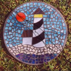 Steppiong Stone - Lighthouse By the Sea - Handmade Stained Glass and Concrete - Round Mosaic Tile Art, Mosaic Artwork, Pebble Mosaic, Stone Mosaic, Mosaic Glass, Mosaics, Mosaic Flower Pots, Mosaic Pots, Mosaic Garden