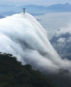 WOW!!! That is a statue of Jesus above that cloud!! ~ Corcovado, Rio de Janeiro #Brazil