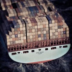 Shipping containers on the Emma Maersk, currently the largest container ship in the world... wow