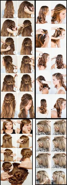 geflochtene Frisuren Para as cacheadas at the crespas, dormir sem desmanchar operating system cachos parece Creative Hairstyles, Up Hairstyles, Wedding Hairstyles, Simple Prom Hair, Hair Looks, Face And Body, Hair Care, Hair Makeup, Braids