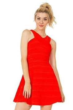 The Sugarlips Strawberry Fields Dress is a red textured dress with a criss cross neckline in the front and back.  Price : $63.00 #MyLuluCloset #Sugarlips #NewArrivals