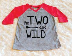I'm Two and Wild Raglan Sleeve Birthday Shirt by LittleLillyBugDesign