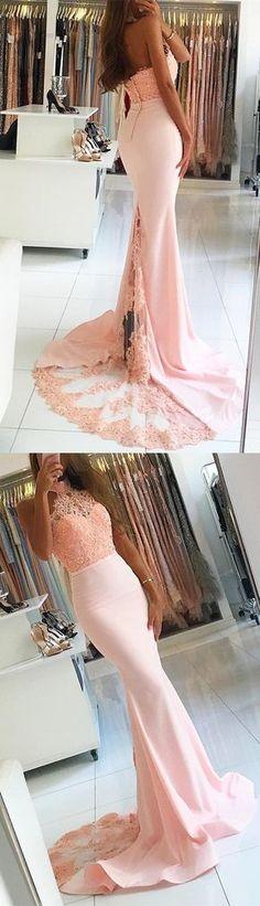 pink long bridesmaid dress, halter mermaid long bridesmaid dress, 2017 long prom dress homecoming dress, pink long homecoming dress, formal evening dress