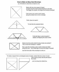Origami Envelope, Origami Boxes, Planting, Gardening, Garden Club, Make Happy, Seed Packets, Garden Seeds, Garden Planning