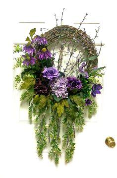 Cascading Purple Silk Floral Wreath, Spring #Wreath, Springtime Wreath, Spring #Floral Wreath, Spring Door Wreath, Wreath for Door, Front Door Wreath, Grapevine Wreath, by Adorabella Wreaths on Etsy!