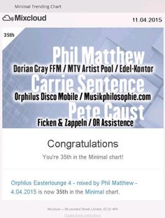 Phil Matthew alias Matthias Philipp #35 at UK Charts London (Music Dj Charts) Mixcloud April 2015