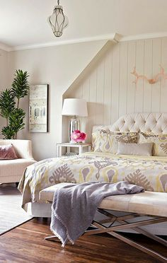Decor ideas for a simple, shabby chic bedroom.