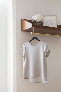 Favorite silk tee  - great wardrobe basic. Comfortable, doesn't hug the belly, long enough to cover hips. Good quality, beautiful enough on it's own.