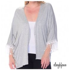 "LAST 1❗️ [nwt] ✚size fringe trim cardigan { plus sizes only! } lightweight open cardigan heather grey with lace trim 97% rayon 3% spandex Made in USA 🇺🇸  no trades ∣ price firm ∣ brand new with tags  🛍 Ready to purchase? Click ""Buy Now"" and select your size on the pop-up menu Bellino Clothing Sweaters Cardigans"