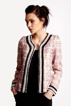 Foil Boucle Pearl Trim Jacket-adorable to wear at work!