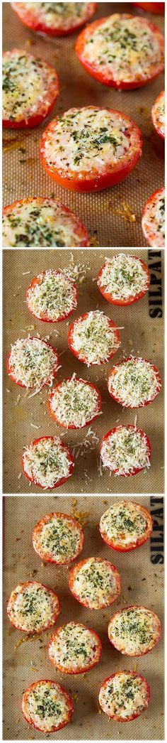 Parmesan and Asiago Cheese Roasted Tomatoes - I love this easy side! So delish!