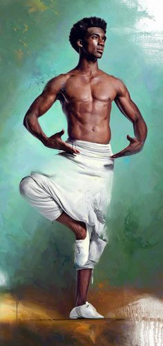 Artist: Miklós Földi (Hungarian, b. 1976), oil on canvas {figurative #impressionist male dancer standing shirtless black man cropped grunge painting #loveart Balanced !!