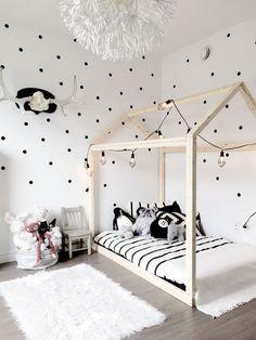 Nursery decor, Scandinavian nursery, House bed, Polka dot wall, Wall decals, Black and white kid room, Black and white nursery, toddler room