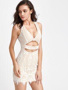 Vestido de encaje escote V profundo con abertura-Spanish SheIn(Sheinside)