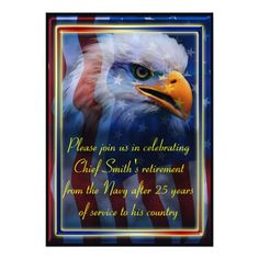 Military retirement personalized announcement featuring an American flag and Bald Eagle #Navy #Army #Airforce #Marines #CoastGaurd #soldier #USA #America #sailor