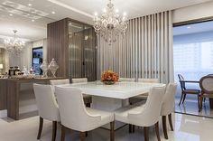 Sala jantar clean com mesa para 8 pessoas