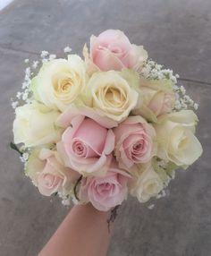 Bridesmaid Rose Hand Tied, edged with baby's breath/Gypsopila
