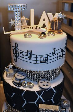 """This """"Fly & Flashy"""" birthday cake was made for Tank & Tyrese's birthday on Sunday, Janurary 2010 by The Cake Mamas. Party Cakes, Party Favors, Black White Parties, Love Cake, Edible Art, Creative Cakes, Yummy Cakes, Cake Designs, Amazing Cakes"""