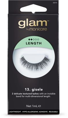Glam by Manicare Gisele Lashes are false eyelashes that enhance the length and thickness of lashes for a dramatic effect ....