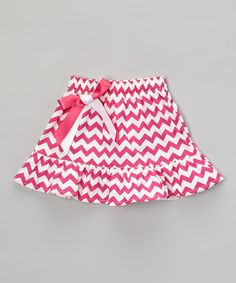 This Hot Pink Zigzag Tiered Skirt - Infant, Toddler & Girls by De n' L is perfect! #zulilyfinds