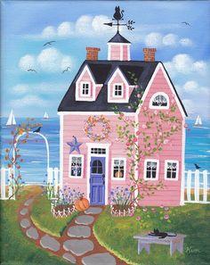 Chicory Rose Cottage Folk Art Print. via Etsy.