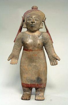 Standing Ceramic Female Figure,Ecuador,Jama Coaque culture 5th century BCE-6th century CE