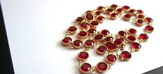 Vintage Long Sparkly SIGNED ~ *AUSTRIAN CRYSTAL* ~ Bright Red Bezel Set  Linked Crystal Necklace !