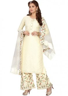 #cream #embroidered #readymade #salwar #kameez #traditional #indian #salwar #suit #indianfashion #party #wear #collection #eid #2021 #ootd Readymade Salwar Kameez, Chanderi Suits, Palazzo Suit, Cream Tops, Top Colour, Color, Traditional Outfits, Lehenga, Indian Fashion