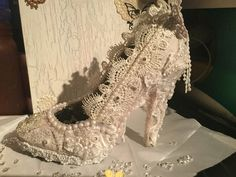 Altered Shabby Chic Shoe...Designed and made by Linda -aka angelmom916
