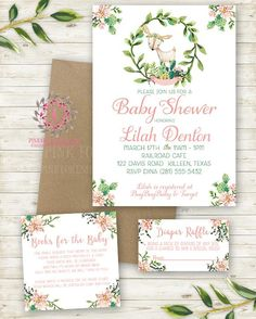 Cactus Succulent Woodland Deer Invite Invitation Baby Shower Diaper Raffle Book Cards Boho Floral Watercolor Birthday Party Printable
