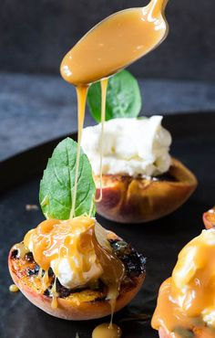 Grilled Peaches with Mascarpone Whipped Cream and Caramel