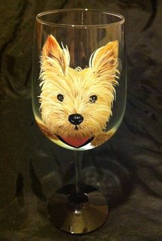 Yorkshire Terrier Pet Portrait Wine Glass by thepaintedflower