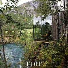 Juvet Landscape Hotel by JSA Architects - Burtigard, Gudbrandsjuvet, Norway. Each room is a detached small 'house' with one or two of the walls constructed in glass, granting each room its own view of a dramatic slice of landscape. Beautiful Homes, Beautiful Places, Trees Beautiful, Beautiful Soup, Amazing Places, Architecture Cool, Installation Architecture, Garden Architecture, Ex Machina