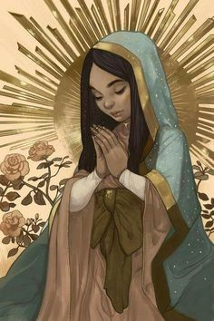 Our Lady of Guadalupe; Madrecita by Karla Rodríguez ; Catholic Art, Catholic Saints, Religious Art, Blessed Mother Mary, Blessed Virgin Mary, Miss Etoile, Images Of Mary, Queen Of Heaven, Mama Mary