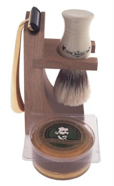 Colonel Conk Model 237 Hardwood Stand Shave Set with Deluxe Boar Brush, Gold Tone Razor and Soap: Father's day gift