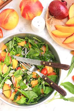 Peach, Arugula & Tomato Salad with Honey Olive Oil Dressing