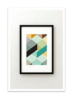 CUBI VIGNETTE no.1 - Giclee Print - Mid Century Modern Danish Modern Minimalist Cube Modernist Eames Abstract